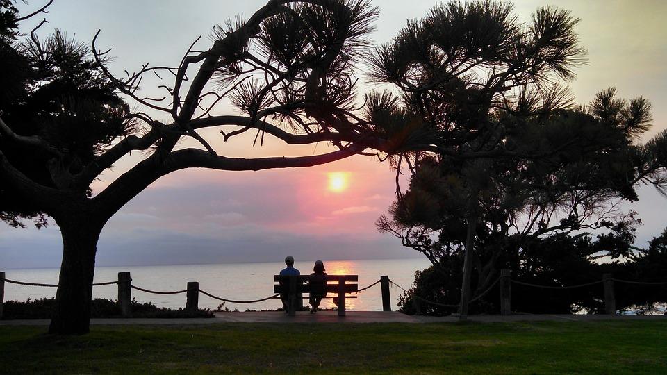 Sunset, Romantic, Beach, Couple, Bench, Walk, Date