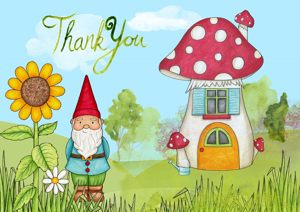 Thank You House: Free Illustration: Thank, You, Card, Gnome, House