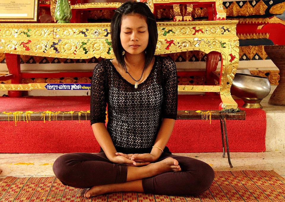Meditazione, Ragazza, Tempio, Tranquillo