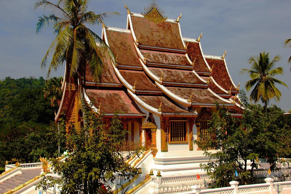 寺, 老撾, 屋頂上, 亞洲, 佛教, 宗教, 文化, 掃管笏, 旅行, 結構, 建設, 遺產, 里程碑
