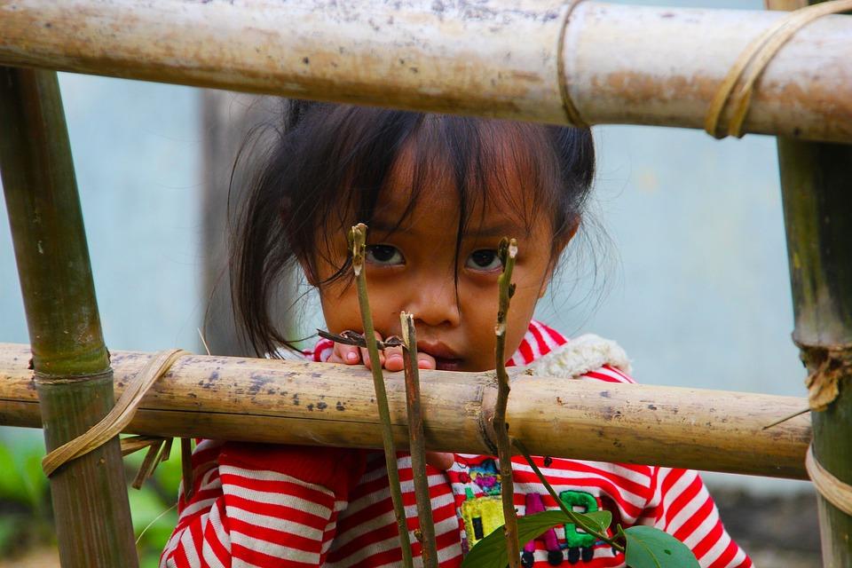 ラオス, 女児, 凝視, 女の子, 子, アジア, 顔, 子ども, 人, 汚い, 貧困, フェンス, 東