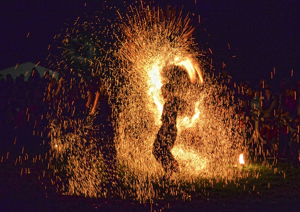 Show, Fire Sparks, One, Silhouette
