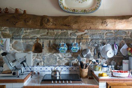 Kitchen, Tuscan, Wooden Beams, Farmhouse