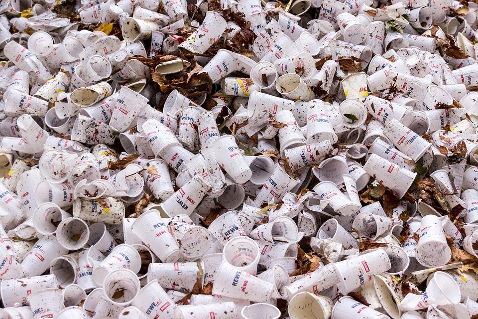 Vasos De Plástico, Basura, Vasos Desechables, Vacío