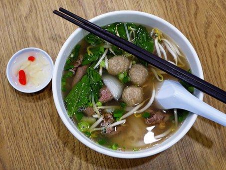 ベトナム, 米麺, 牛肉, 牛肉団子, アジア, 野菜, 豆もやし, 箸