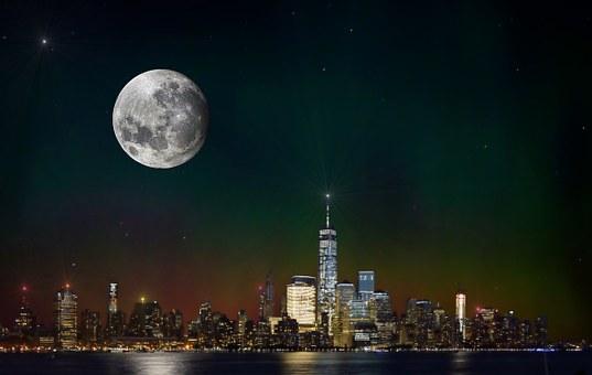 New York Skyline Night Scene New York
