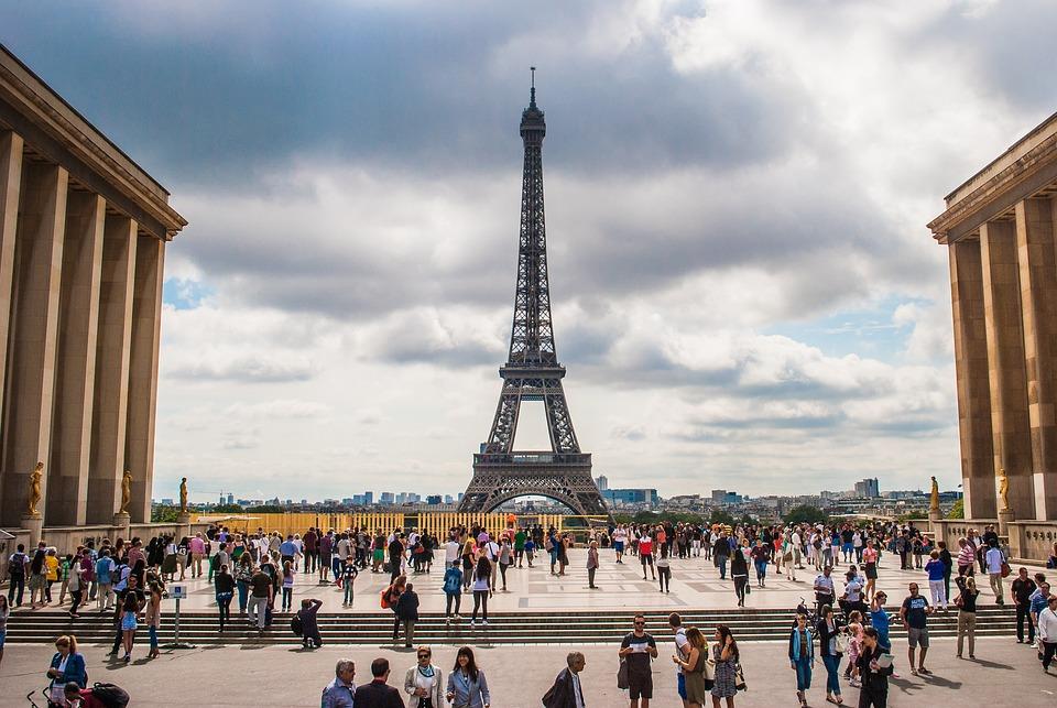 Eiffel Tower, Франция, Париж, Квадрат, Колони