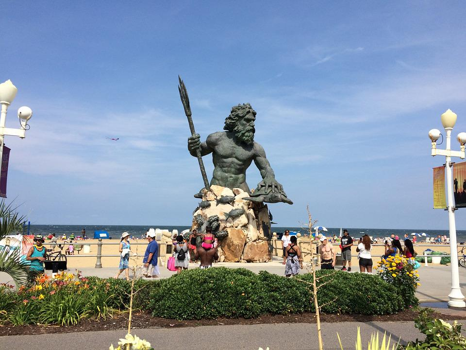 Statue, Virginia Beach, Monument, Neptune, Tourists