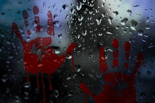 Glass, Drip, Rain, Handprint, Bloody