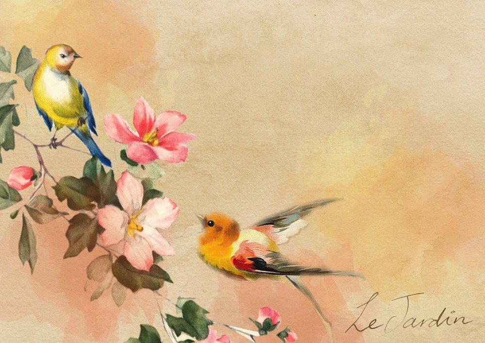 Vintage Background Bird Happiness Stock-vektorgrafik ...