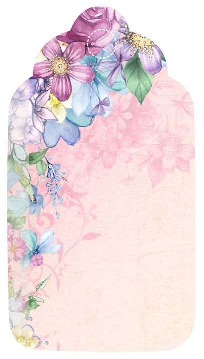 free illustration  tag  flower  romantic  scrapbook