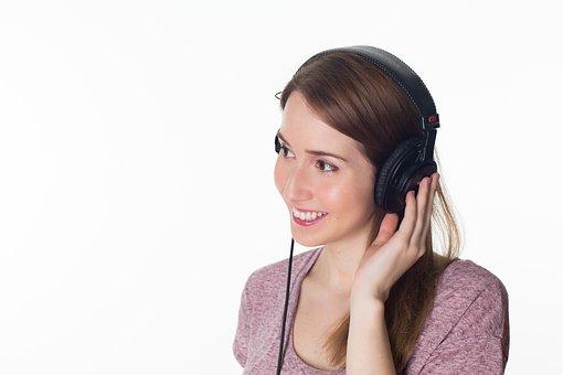 女性, 女の子, ヘッドフォン, 音楽, 耳を傾ける, 緩和, 肖像画, 静けさ