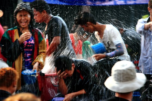 Raining, Fun, Thailand, Water Day