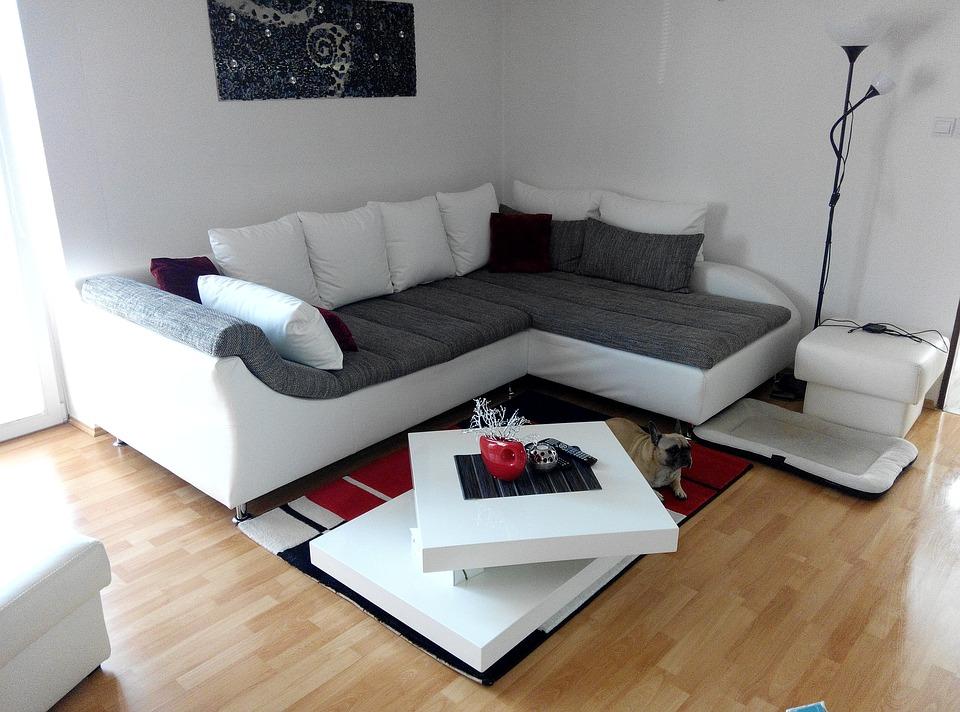 リビングルーム, 部屋, インテリア、, パノラマ, 装飾, ラウンジ, コーナーソファ, 白, 家具
