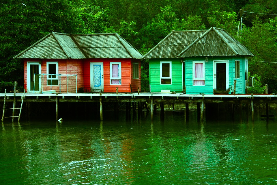 Free Photo Sheds Houses Stilts River Lake Free