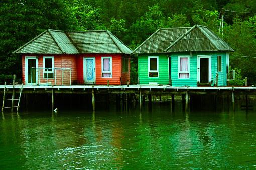 Sheds Houses Stilts River Lake Water Holid