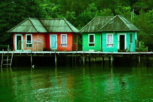 Sheds Houses Stilts River Lake Water Holid