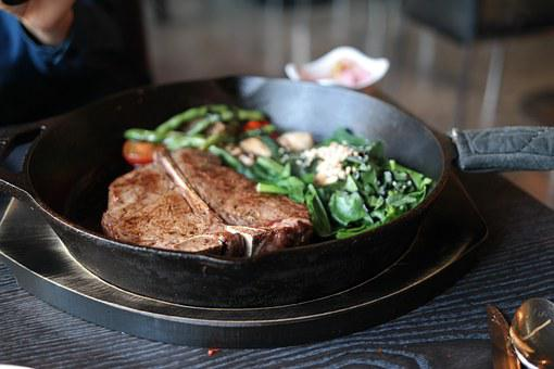 ステーキ, ティー本ステーキ, ほうれん草, スキル・, タフィルージュ, 食糧