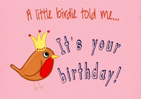 Bird, Birthday, Card, Pink, Modern, Fun