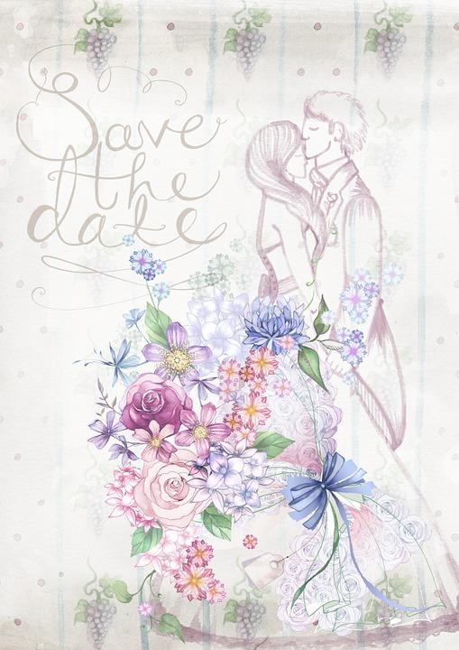 9de3f27cb6 Esküvő, Meghívó, Virágos, Pár, Rajz, Kártya, Ünneplés