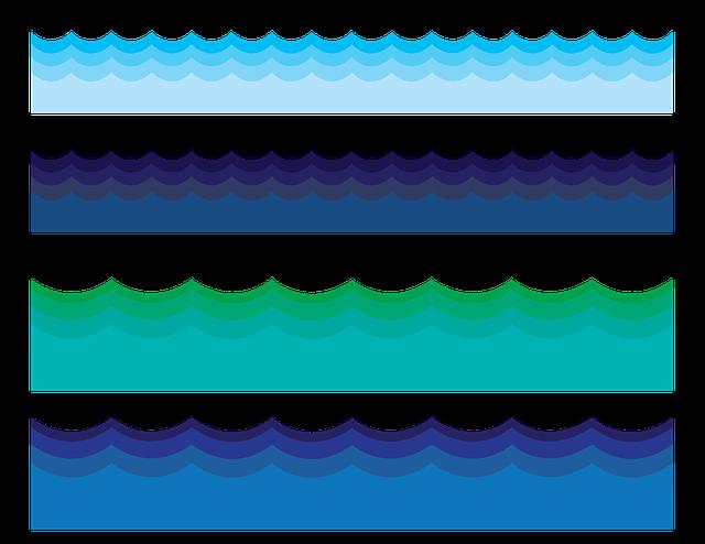 Free Illustration: Water Border, Water, Waves, Ocean