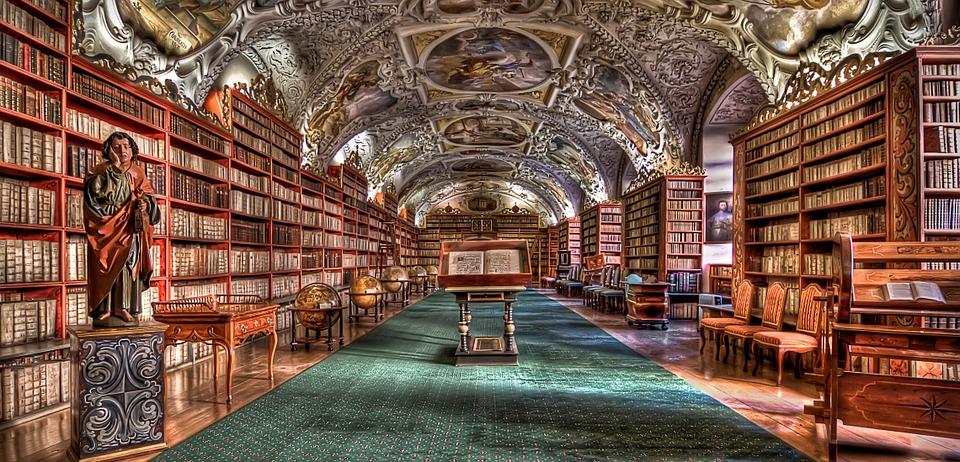 Prague, La Bibliothèque, Prague Monastère, Livres