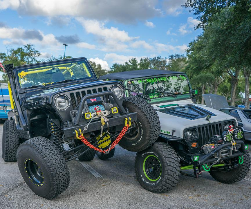 jeeps big wheels halloween decorations car show