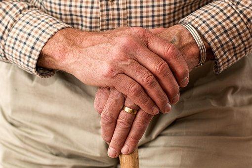 老年, 手, 戒指, 拐杖, 老人, 高级的, 养老金领取者, 年迈的, 祖父母