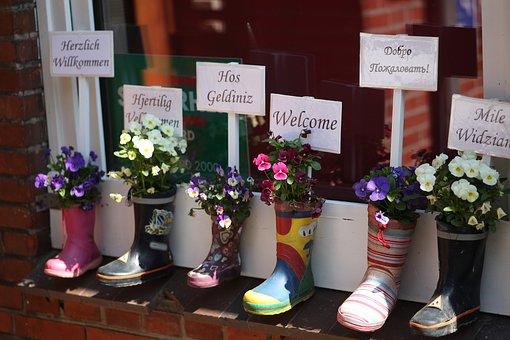 幼稚園, ようこそ, フレンドリーです, ゴム長靴, 国籍