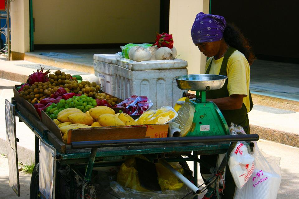 Woman, Food Stall, Fruits, Thailand