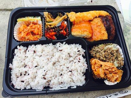 お弁当, 食糧, 米, おかず, 食料, 食べ物の写真, おいしい, 式版