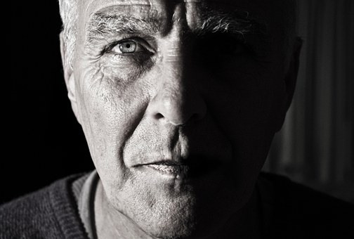 Face portrait man elderly determined