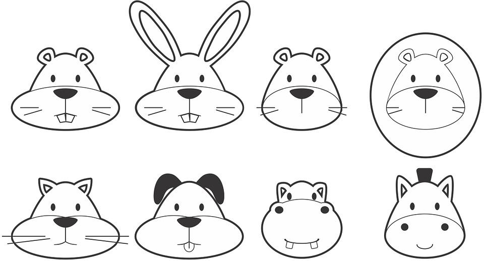 动物, 黑, 狗, 卡通, 猫, 可爱, 贴花, 乐趣, gopher, 河马, 马, 图标