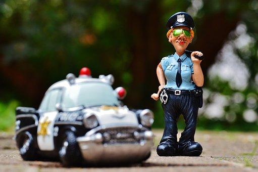 女性警察官, 警察, 警察の車, フィギュア, おかしい, 楽しい, 手錠