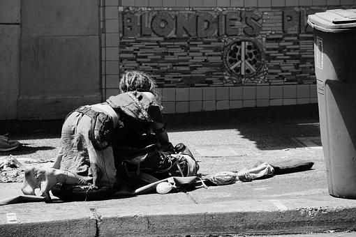 Obdachlose, Straße, Traurige Frau