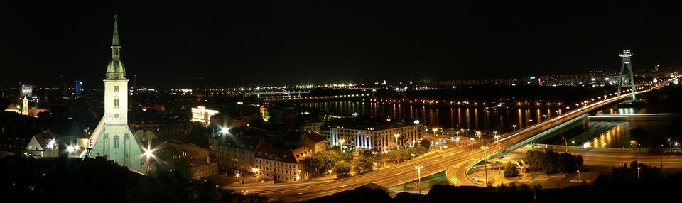 Slovakia, Bratislava, City, Night Bridge, River, Danube