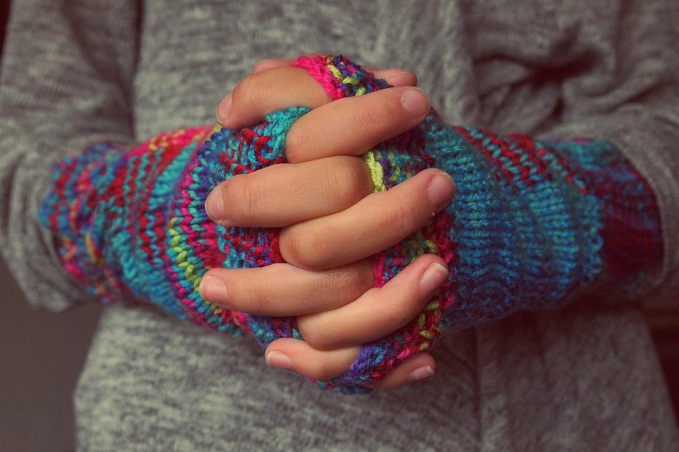 Gevouwen Handen, Vingers, Handschoenen, Breien, Winter