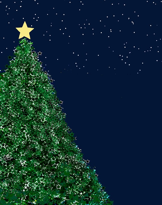 Christmas Tree Green Background Structure Blue