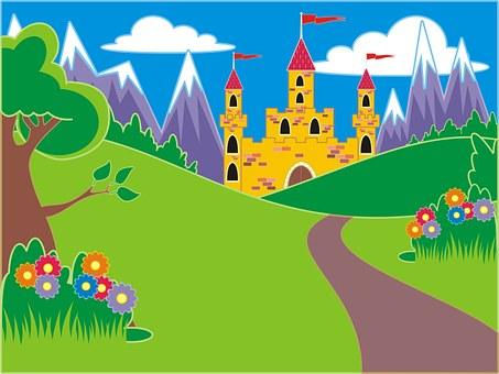 Desenhos Animados, Hill, Árvore