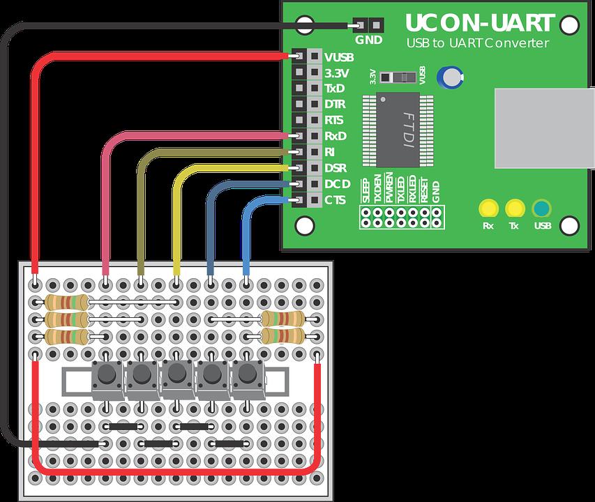 Ucon-Uart Breadboard Electronics · Free vector graphic on Pixabay