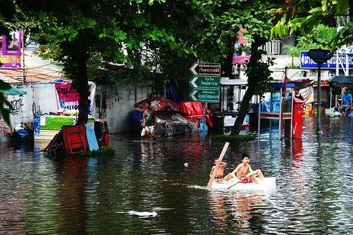 Flood, Boys, Rowing, Water, Blue, People