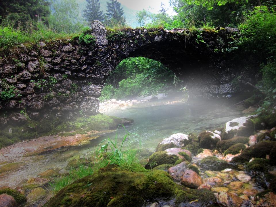 Stone Bridge, Fog, Mystical, Old Bridge, Fantasy