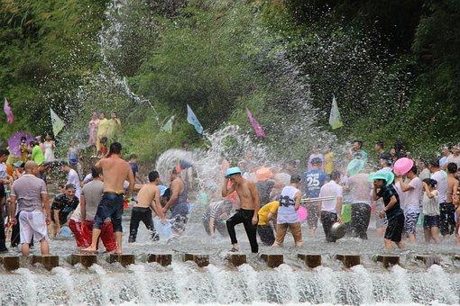 Water Fight, Songkran, Lishui, Zhejiang