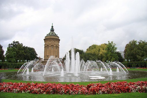 Mannheim, Water Tower, Flowers, Fountain
