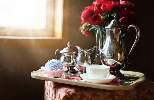 銀のティーセット, 銀, ティーポット, 茶, 設定, 伝統的な, ビンテージ