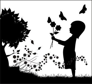Enfant, Fleur, Arbre, Jeune Fille