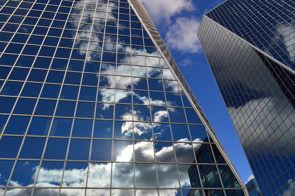 Buildings Clouds Reflection Glass Windows Blue