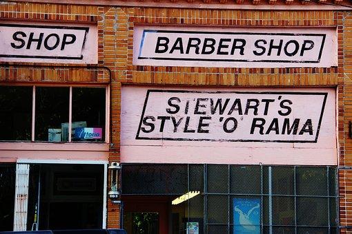 Shop, Friseur, Straße, Städtischen