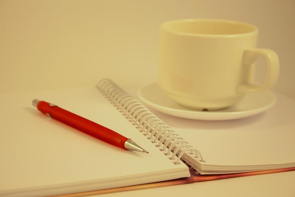 オフィス, ペン, 紙, ビジネス, 仕事, ノートブック, メモ帳, 鉛筆, コーヒー, カップ, 朝