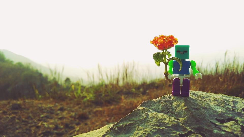 Juguetes, Lego, Paisaje, Flor